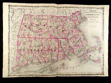 1863 MAP OF MASSACHUSETTS, CONNECTICUT, RHODE ISL. JOHNSON'S  ATLAS, w/ C.O.A.