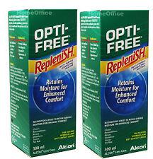 2 x 300ml OPTI-FREE Replenish Contact Lens Solution Opti Free Eye Alcon