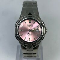 Dakota Steel Womens Spider Pink Dial Silver Bracelet Date Quartz Analog Watch