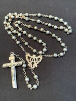 """Rosary Sterling Silver Crucifix Beads Catholic 59 Beads 15"""" Tested Vintage"""