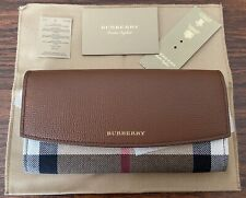 NWT BURBERRY HOUSE CHECK PORTER CONTINENTAL WALLET TAN/GOLD