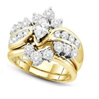 14K Yellow Gold Over 2.20 Ct Marquise Diamond Engagement Wedding Bridal Ring Set