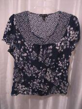 Antilia Femme Navy Blue/White Floral Junior's Short Sleeve Shirt Sz 2X Pre-Owned