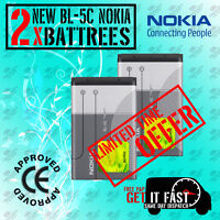 100% Genuine 2 X BL 5C BATTERY FOR NOKIA 1100 1600 2300 6230 6630 6680 3100 6230