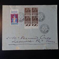 N°271 x4 + VIGNETTE LETTRE RECOMMANDE COVER CAD CASTRES JOURNÉE DU TIMBRE 1939