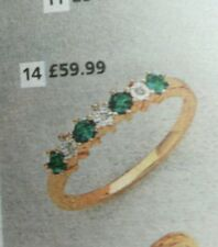 18ct gold plated on 925 sliver EmeraldDiamond Eternity Ring size N RRP £59. 99