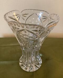 Large Vintage Crystal Vase Wide Scalloped Oval Mouth Etched Flowers Pristine!