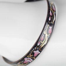 Vintage Emaille Armreif ∅ 6,2 Blumen Schmuck 70er schwarz, gold, rosa Armring 10