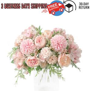 Artificial Carnations Peony Bouquet Silk Hydrangea Realistic Arrangements 2 Pack