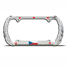 LOVE CZECH REPUBLIC FLAG EUROPE Heavy Duty Metal License Plate Frame Tag Border