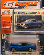 BLUE WITH RED STRIPES 2010 SHELBY GT500 GREENLIGHT 1:64 SCALE DIECAST METAL CAR