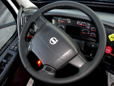 Accoppiamenti VOLVO FH 2002 + CAMION Real BLACK ITALIAN LEATHER STEERING WHEEL COVER NUOVA