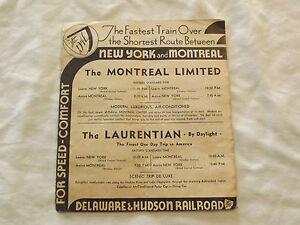 VINTAGE 1939 D & H DELAWARE & HUDSON RAILROAD NY   TRAIN TIMETABLE BROCHURE