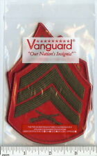 USMC Marines FEMALE Sergeant Chevrons PATCH pair! Sgt E5 ! green/red for Greens!