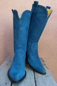 GIANNI BINI Womens Cowboy Western Boots Teal Blue Leather Western Riding Size 8M
