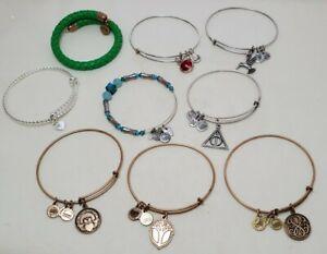 Pre-owned 9 Alex & Ani Bangle Bracelets Lot Brass Silver Gold Tone Green Vintage