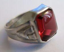 Vintage Art Deco Retro Ring Sterling Silver Red Stone Sz 4 3/4 Uncas Manuf