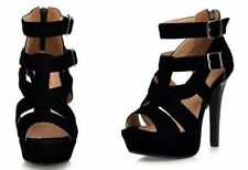 High (3 in. to 4.5 in.) Strappy Synthetic Heels for Women