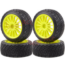 """4× 2.2"""" Wheel Rims & Tires Yellow 1/8 RC HPI RTR WR8 3.0 Ford Fiesta Flux Rally"""