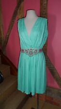 UK14 Plunge V-neck & Back Dress in Miami Green Viscose by French Connection BNWT