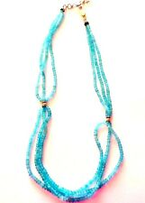 Genuine Apatite & Silver 19 inch Necklace 1.5 inch extender +Cert Authenticity