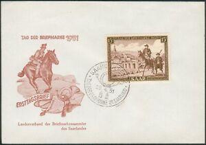 SAAR FDC Mi.-Nr.305 Tag der Briefmarke 29.4.1951 Reiter zu Pferd
