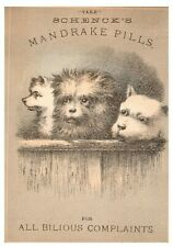 1880's Lot of 4 Cute Kids Dogs Schenck's Quake Medicine Mandrake Trade Cards P98