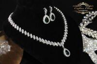 2 Tlg. Zirkonia AAA+ Schmuckset Halskette Ohrringe Brautschmuck Silber Grün