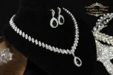 2 Pc Zirconia AAA+ Jewelry set Necklace Ohrringe  Bridal jewelry Silver Green