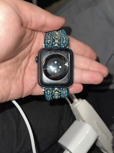 Apple Watch Series 6 44 mm Blue Aluminum Case with Deep Navy Sport Band...