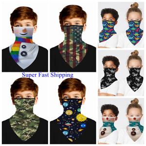 Face Mask Bandana Kid Boys Girls Covering Neck Gaiter Scarf Neckerchief Reusable