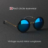 Vintage round sunglasses THE ROW womens sunglass black mirror blue lens suniess