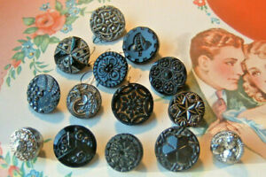14 ANTIQUE VICTORIAN BLACK GLASS BUTTONS FANCY DESIGNS FABRIC CENTER LUSTER