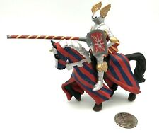 Papo SILVER TOURNAMENT KNIGHT w/HORSE Red Blue Steed Medieval Castle 2000