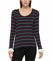 Tommy Hilfiger Women's Black Size XXL Striped Ruffled-Sleeve Top
