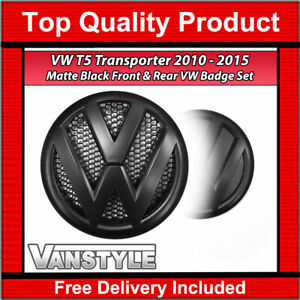 FOR VW T5 TRANSPORTER 2010-15 OEM STYLE REPLACEMENT FRONT REAR MATTE BLACK BADGE