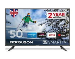 "FERGUSON 50"" inch 4K ULTRA HD LED SMART TV WITH WIFI 3 x HDMI, USB. MADE IN UK"