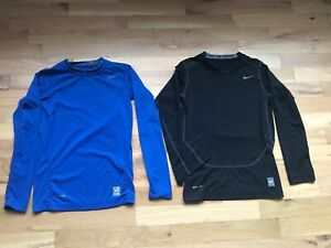 Lot of 2 NIKE Pro Combat Boy's Blue/ Black Compression Tees Size: M