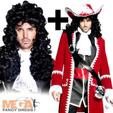 Deluxe Pirate Captain Hook + Wig Mens Fancy Dress Book Adults Halloween Costume