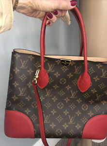 Authentic Louis Vuitton Monogram two way  bag red handles and trim COA