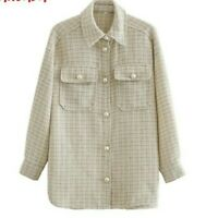 faux tweed pearl button down shirt blouse style winter long-sleeve layer shacket