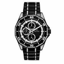 Bulova Black Crystal Accented Chrono Dial Black SS Band Quartz Mens Watch 98C111