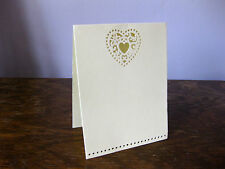 Heart wedding lasercut invitations - pack of 10 cards with envelopes - cream NEW
