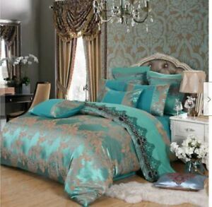 4pc. Luxury Palace Crown Turquoise Tribute Silk Queen King Duvet Cover Set