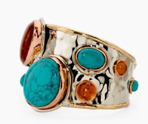 The Island Pearl Tri Color Metal Genuine Turquoise And Amber Cuff Bracelet. New