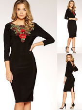 Quiz Black And Red Cowl Back Embroidered Midi Dress