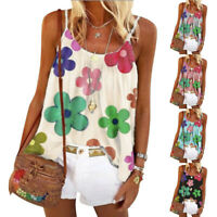 Womens Floral Print Tops Shirt Tee Ladies Sleeveless Blouse Pullover Vest Tank