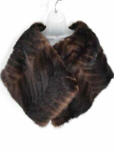 Vintage Dark Brown Mink Fur Women's Stole Shawl Cape One Size