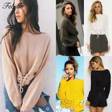 Damen Casual Langarm Lace-up Bandage Sweater Tops Strickshirt Pullover Bluse Neu