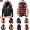 Men Hooded Long Coat Winter Warm Padded Outwear Casual Quilted Parka Jacket US